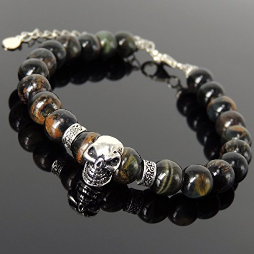 Bold Skull Charm Bracelet Men's Womens Handmade with 8mm Rare Mixed Blue Tiger Eye Protection Gemstones and Genuine 925 Sterling Silver and Art Deco Motif Spacer Beads, Clasp with Link