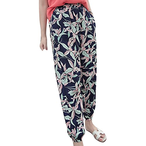 2017 HOT SALE! ZOMUSA Women Casual Bohemian Loose Beach Mid Waist Nine Pants (L, (Wide Waistband Jumper)