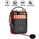 AMZLIFE Personal AM FM Portable Radio Bluetooth Speaker & TF Card Player Outdoor Wireless Speaker MP3 Player Built-in Microphone LED Light Rechargeable Battery Mini Pocket Radio, Bedroom