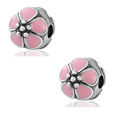 80d373742 2PCS Cherry Blossoms Clip Lock Stopper Charms Genuine 925 Sterling Silver  Enamel Clips Bead For European Bracelet (Pink Enamel): Amazon.co.uk:  Jewellery