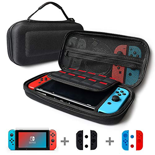 Nintendo Silicone Sleeves - Puning 4in1 Nintendo Switch Bag- Travel Case,10 game card slots & a Bonus Screen Protector,a Dust-absorber & 2 screen cleaning paper,2 pairs of silicone sleeve &2 pairs of silicone caps