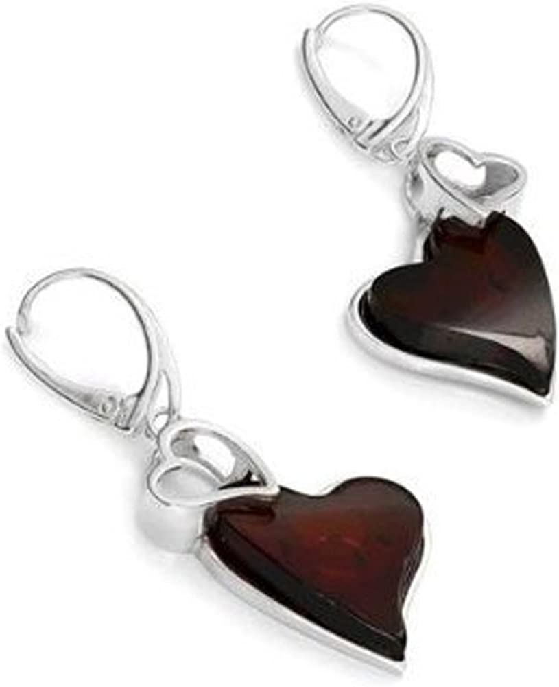 DANGLING CHERRY BALTIC AMBER EARRINGS 925 STERLING SILVER PENDANT AVAILABLE