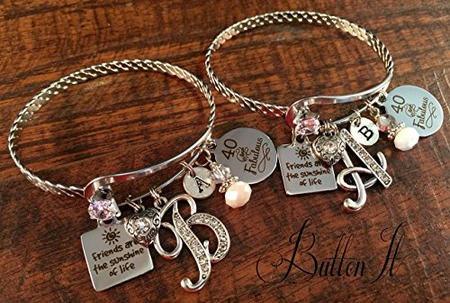 Best Friend Gift FRIENDSHIP Bracelet Birthday 40th Gifts For HER 60th 50th Birthstone Inital Christmas