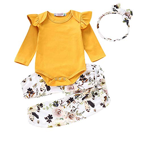 3PCS Infant Toddler Baby Girl Clothes Ruffle Romper Top Long Sleeve Bodysuit + Floral Pants + Headband Outfit Set (Yellow, 6-12 Months)