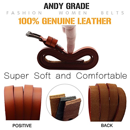 Set of 3 Women's Genuine Cowhide Leather Stylish Thin Dress Belt Fashion Vintage Casual Skinny Belts for Jeans Shorts Pants Summer for Women With Alloy Pin Buckle By ANDY GRADE