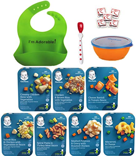 Gerber Graduates Lil Entrees Variety Meal Bundle of 7 flavors 6.6 oz each, Bowl, Spoon and Silicone Bib included. Gift Package Care Package, Baby feeding set