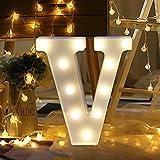 TAOtTAO Remote control Alphabet Letter Lights LED Light Up White Plastic Letters Standing (V)