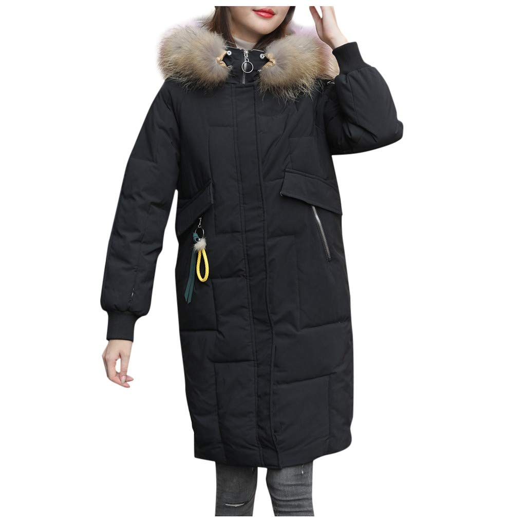 Pandaie Women Down Jacket Long Winter Parka Jacket Hooded Quilted Thicken Warm Puffer Trench Coat Outwear Black by Pandaie