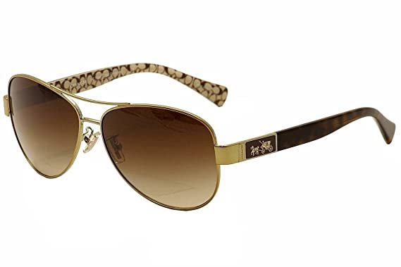 9bf4997c895 Coach Women s HC7047 Sunglasses Gold Dark Tortoise Sand Sig C Khaki Gradient  59mm