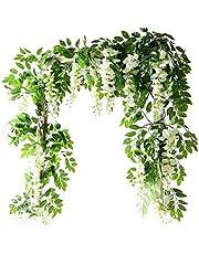 Konstgjorda blommor Vine Artificiell Hängande Garland med blommor hängande Wall Dekorationer för bröllopsfesten 1.8M White Garden Inredning
