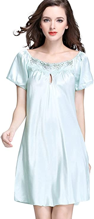 1960s – 1970s Lingerie & Nightgowns Asherbaby Womens Lace Crew Neck Nightgown Short Sleeve Sleep Shirt Pajamas Pink Blue US L=Tag 2XL $14.99 AT vintagedancer.com