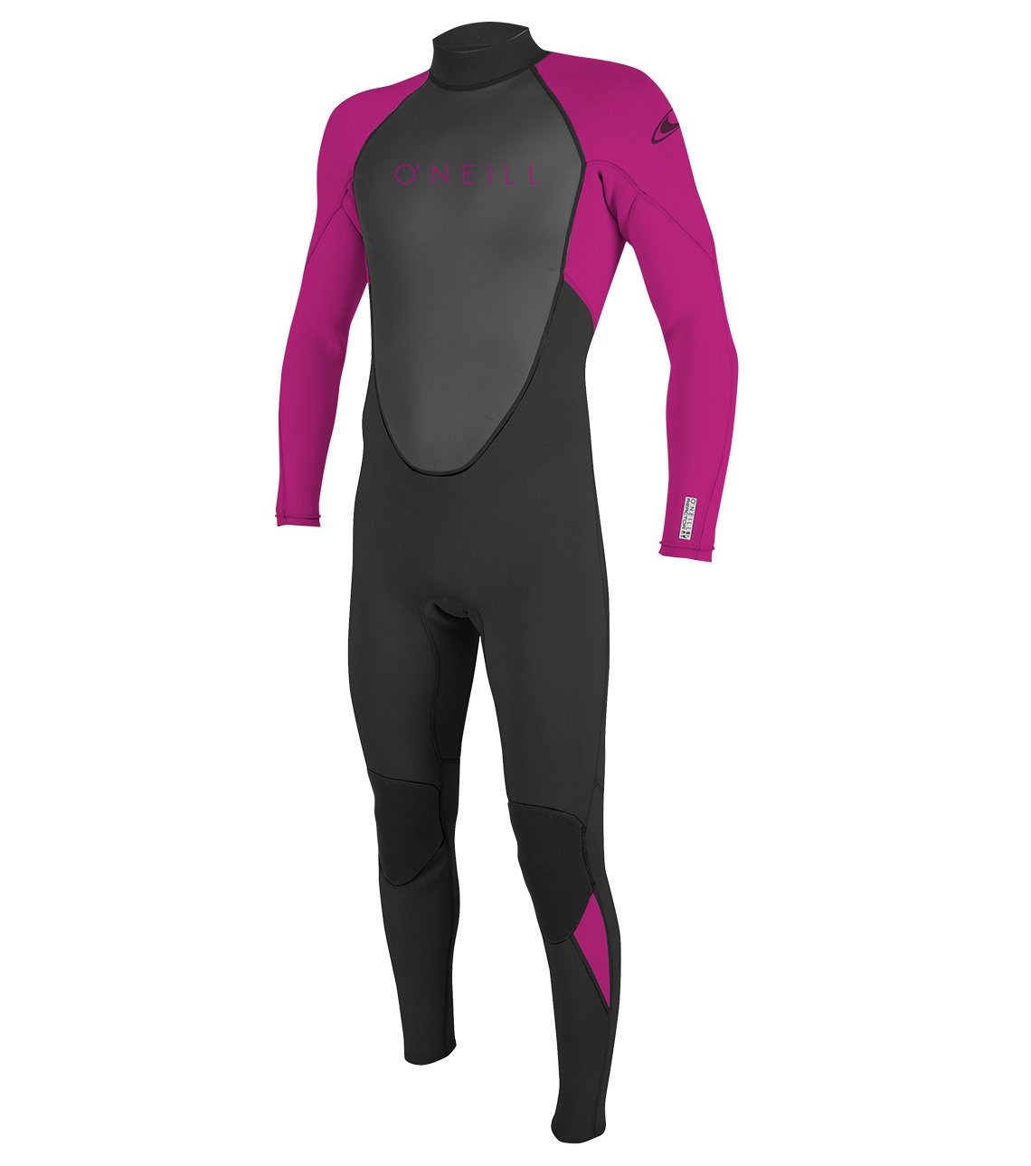 O'Neill Youth Reactor-2 3/2mm Back Zip Full Wetsuit, Black/Berry, 4