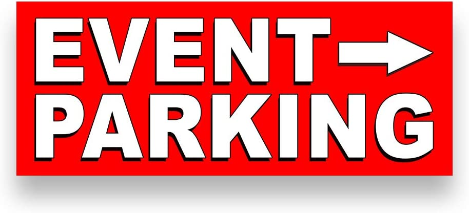 Event Parking Right Arrow Vinyl Banner 5 Feet Wide by 2 Feet Tall