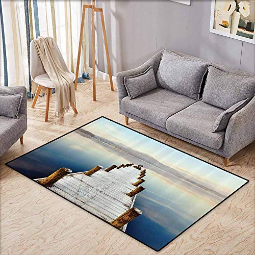 Girl Bedroom Rug Wooden Bridge Decor Collection Wooden Jetty to Lake with Distant Hills Seascape Scenery Print White Brown Blue Durable W4'9 - Spanish Collection Bedroom Hills