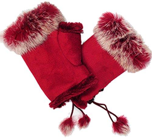 Sefon New Women's Rabbit Fur Hand Wrist- Warmer Fingerless Gloves 14 Colors,Red