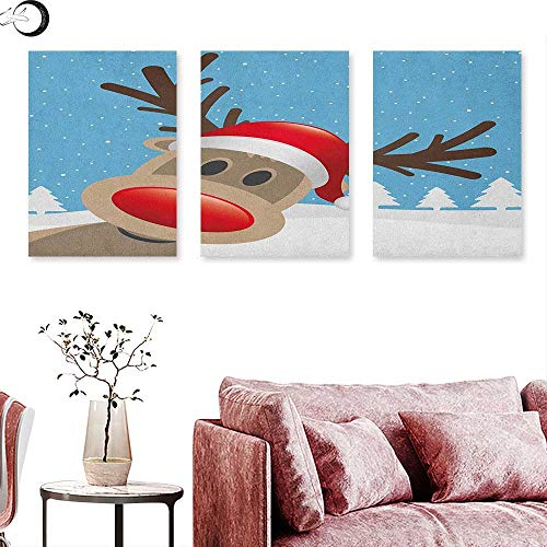 Anniutwo Christmas Landscape Canvas Reindeer Rudolph with Red Nose and Santa Claus Hat Snowy Forest Wall Panel Art Pale Blue Red Pale Brown W 24