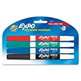 : EXPO Low-Odor Dry Erase Markers, Fine Point, Assorted Colors, 4-Count