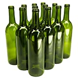 North Mountain Supply 750ml Glass Bordeaux Wine Bottle Flat-Bottomed Cork Finish - Case of 12 - Champagne Green