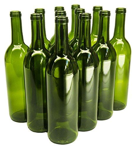 North Mountain Supply 750ml Glass Bordeaux Wine Bottle Flat-Bottomed Cork Finish - Case of 12 - Champagne Green Green Wine Bottle