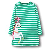 BEILEI CREATIONS KIDSALON Little Girls Cotton Casual Longsleeve Cartoon Princess Dress (6T, Green-Horse)