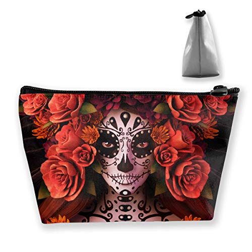Makeup Bag Cosmetic Bag Travel Make Up Pouch Toiletry Case with Zippered Pocket for Women and Girls Sugar Skulls and Roses Day of Dead Halloween -