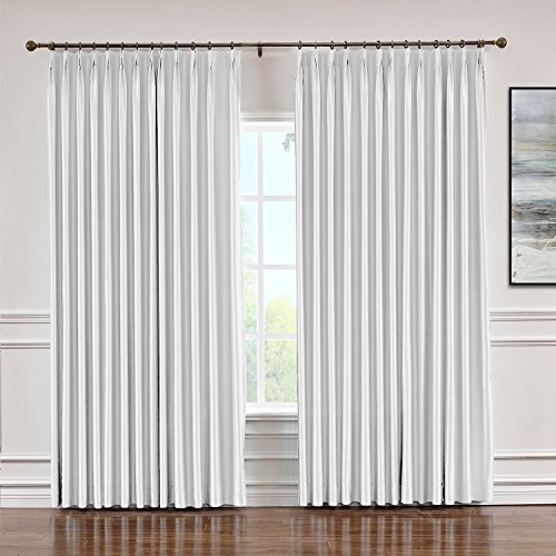 (Macochico Indoor Faux Dupioni Silk Curtains Pinch Pleated Blackout Drapes Panels for Bedroom Living Room Office Library Thermal Insulated, Egg White 84
