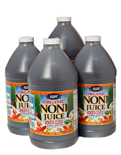 Organic Hawaiian Noni Juice - Case of 4 Half Gallon Jugs (64oz Each) by Healing Noni