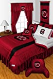 South Carolina Gamecocks QUEEN Size 14 Pc Bedding Set (Comforter, Sheet Set, 2 Pillow Cases, 2 Shams, Bedskirt, Valance/Drape Set - 84 inch Length & Matching Wall Hanging) - SAVE BIG ON BUNDLING!