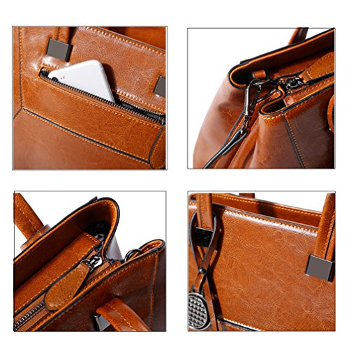 Womens Fashion Trends Fashion Handbags Bag Cowhide black Brown Cowhide HopeEye Crossbody 3 Backpack FZwdqwf