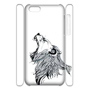 3D [Arts] Growling Lion Cases for IPhone 5C, IPhone 5C Case {White}
