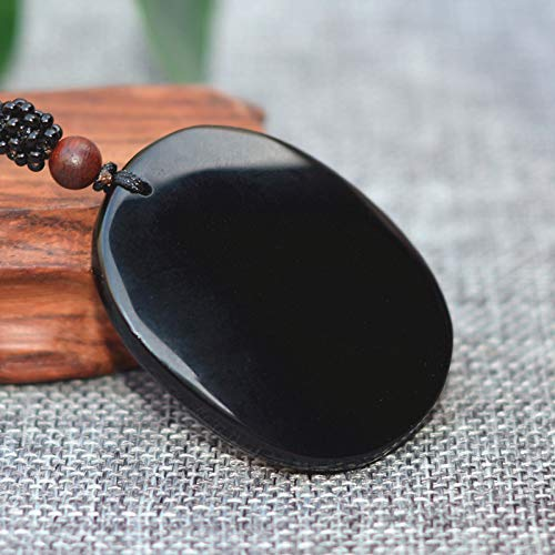 Natural Black Obsidian Stone Carving Chinese Zodiac Horse Lucky Amulet Pendant Necklace for Mens Fashion Jewelry