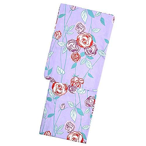 シフト遅れスプリット京都きもの町オリジナル 浴衣単品「パープル 薔薇」3L、4L 綿浴衣 大きいサイズ レトロ