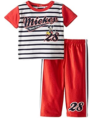 Disney Baby Boys' Striped Mickey Mouse 2 Piece Pant Set, Multi, 24 Months