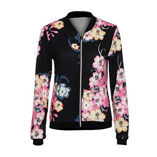 Celeb Mode Transer Jacket Bomber femmes Print Biker Camo zip Noir FLoral H4xTgx