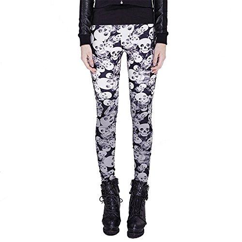 Punk Gothic Skull Print Leggings Womens Sexy Tights Pants Stretchy Elastic Leggings Trousers (S, (Glitter Skull Tights)