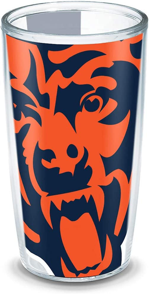 Tervis 1193013 NFL Chicago Bears Colossal Wrap Individual Tumbler, 16 oz, Clear