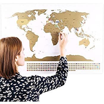 Amazon Com Scratchable World Map With Flags And Bonus A4
