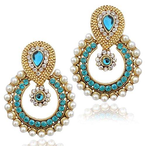 Pearl sets earrings bridal jewellery sets earrings Indian jewellery B332T Blue