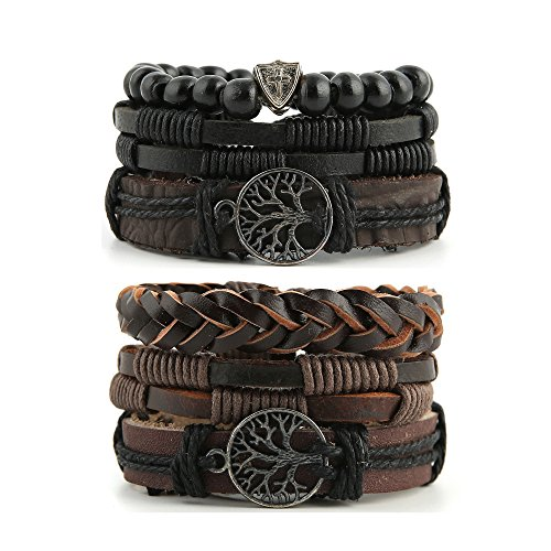 HZMAN+Mix+6+Wrap+Bracelets+Men+Women%2C+Hemp+Cords+Wood+Beads+Ethnic+Tribal+Bracelets+Leather+Wristbands+%28Tree+of+life%29