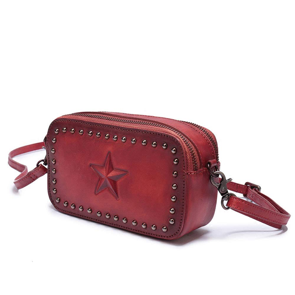 GAOQQ Leather Bags for Women-Rivets Small Square Bag Vintage Double Zipper Mobile Phone Bag