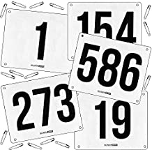 Running Bib Large Numbers with Safety Pins for Marathon Races and Events - Tyvek Tearproof and Waterproof 6 X 7.5 Inches By Clinch Star