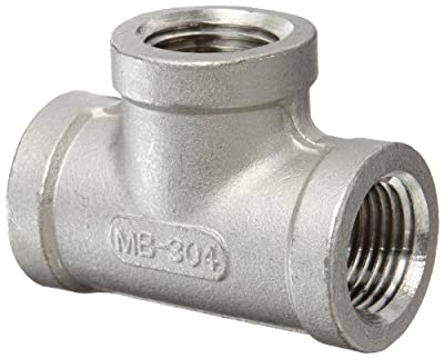 "Merit Brass Stainless Steel 304 Cast Pipe Fitting, Tee, Class 150, 1/2"" NPT Female"