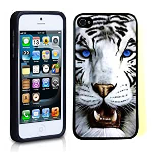 iPhone 5 5S Case ThinShell TPU Case Protective iPhone 5 5S Case Shawnex Bengal Tiger Blue Eyed Royal White