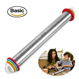 Large Heavy Duty Rolling Pin Made by Stainless Steel Metal, 15 inch, with Adjustable Discs,Kitchen Tools for Women, Men, Kids, Girls, Adults, Teens, Toddlers - French Style