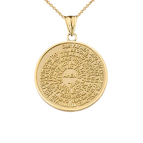 Fine 14k Yellow Gold Lord's Prayer Transcription Medallion Necklace, 18
