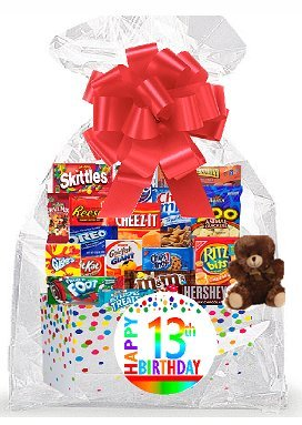 CakeSupplyShop Item#013BSG Happy 13th Birthday Rainbow Thinking Of You Cookies, Candy & More Care Package Snack Gift Box Bundle Set - Ships FAST!