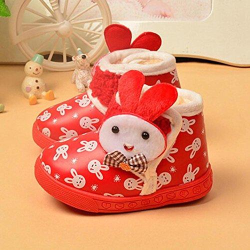 OverDose Baby-Mädchen Baby Kind Aufladungs Kind Winter Starke Schnee Aufladungs Pelz Schuhe Rot