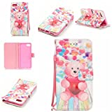 iphone 5 case with can opener - iPhone 7 Case,iPhone 8 Case,Firefish [3D Printing] PU Leather Flip Folio Kickstand Wallet Case with Card Slots and Magnetic Closure Wrist Strap for Apple iPhone 7-Balloon Bear