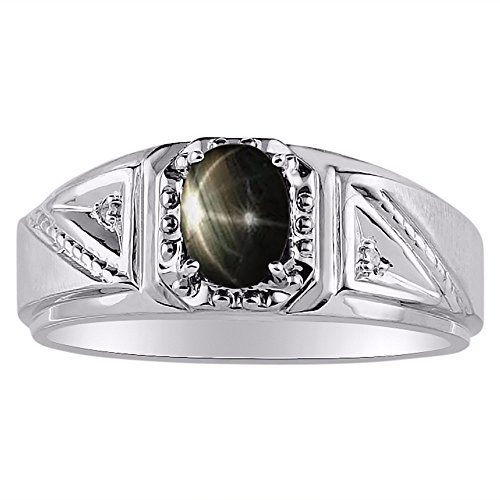Genuine Diamond & Gorgeous Oval Black Star Sapphire Ring set in Sterling Silver .925 (Set Single Sapphire)