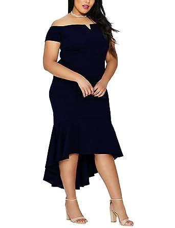 baf4e57d7e Lalagen Women's Off Shoulder Mermaid High Low Plus Size Evening Party Dress  Black XL